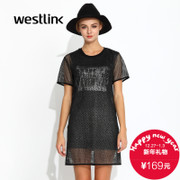 Westlink/West fall 2015 new letters printed mesh cut two piece dress t shirt dress