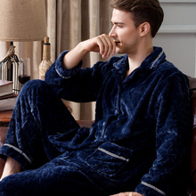 Qiu dong season men long sleeve casual thickening coral fleece flannel pajamas male winter leisurewear suit on sale