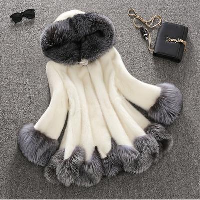 Импорта норки женского бума спец пальто Фокс меха норки бархата длинный Мех Пальто Распродажа в меха
