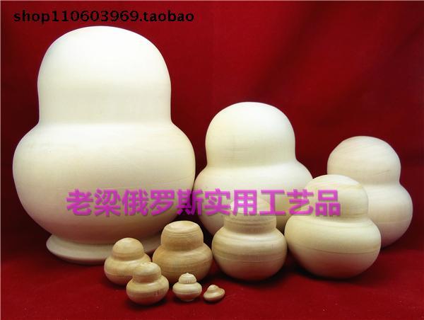 Z14-4俄罗斯原产进口套娃10层素胚大肚娃好椴木DIY绘画创意无限