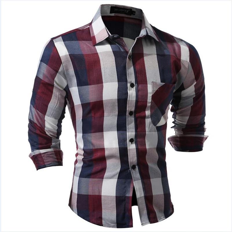 Men Shirt Men's Long Sleeve big man Plaid Shirt Dress Shirts