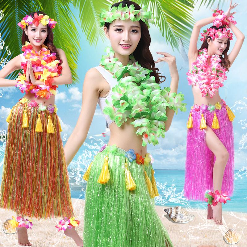 Гавайи юбки танец юбка гирлянда юбки танец одежда для взрослых установите мужской и женщины производительность одежда дикарь производительность одежда