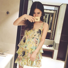 Han edition summer small and pure and fresh flower mushroom street fashion street snap one sexy strap show thin brief paragraph chiffon dress