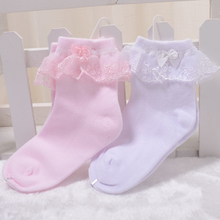Children's socks, lace, show model Girls high-grade bud silk stockings Lovely pink cotton socks female