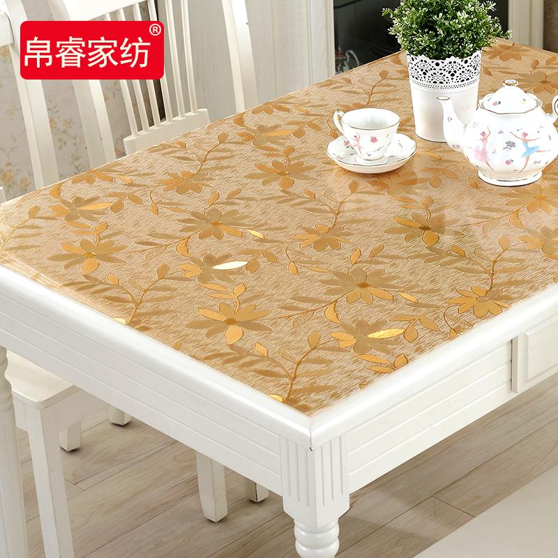 Мягкий стекло PVC обеденный стол ткань прозрачный пластик кофейный столик подушка геометрическом горячей масло одноразовый стол подушка колодки кристалл издание
