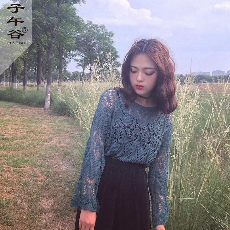 早秋複古韓國chic風氣質綠寬鬆喇叭線鏤空針織衫長袖罩衫女上衣服