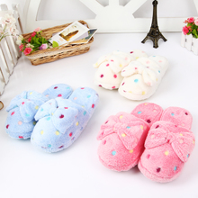Package mail new winter han edition ms bowknot dot floor home more warm cotton slippers slippers