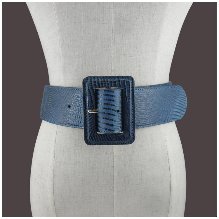 Wide belt womens coat waist cover versatile pin buckle blue belt dress with decorative European and American leather belt