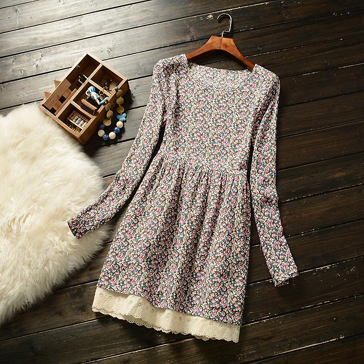 C12 торговля прекрасные весенние и летние стили женщин хлопка изобразительного искусства цветочные рубашки женщин с длинным рукавом платья юбки