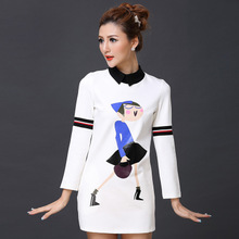 The spring of 2015 in Europe and the new women's clothing Lapel long cartoon girls printing cultivate one's morality joker long-sleeved dress