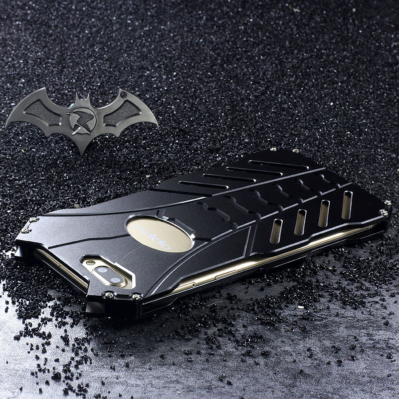 R-Just Batman Shockproof Aluminum Shell Metal Case with Custom Stent for OPPO R11 Plus & OPPO R11