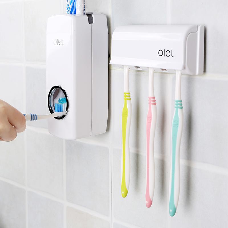 Olet заумный райт сжатие зубная паста устройство держатель щетки установите ванная комната настенный стиль бездельник автоматический зубная паста экструзия устройство
