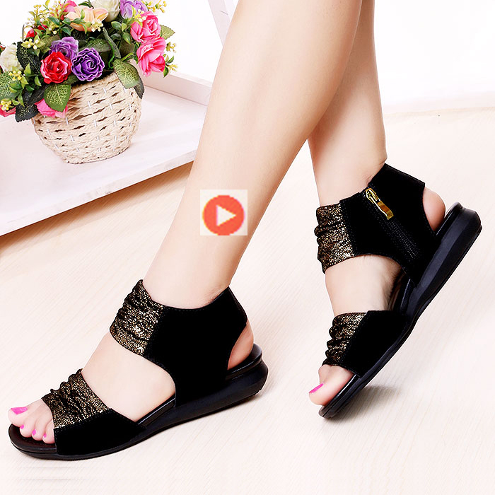 2021 leather flat bottom casual versatile womens sandals low heel slope heel 41-43 large comfortable soft bottom sandals womens summer