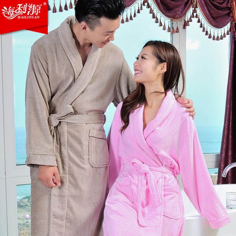 Hailiyuan чистый хлопок велюровый Халат мужчин и женщин пара пижамы толстые халаты долго осень и зима плюс удобрений увеличение