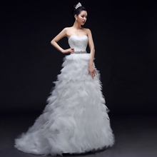 Wedding dresses long trailing fashion new spring and summer of 2015 Korean bride out yarn diamond wipes bosom