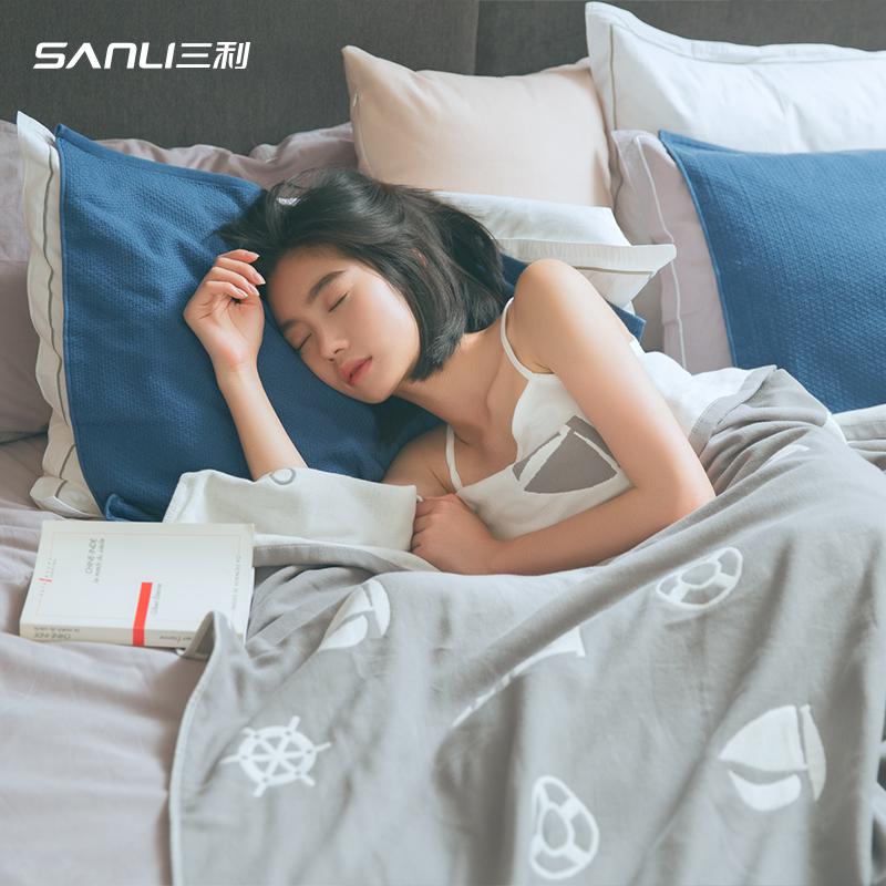 三利毛巾被純棉單人雙人 薄小毛毯被子紗布午睡毯子夏天空調毯