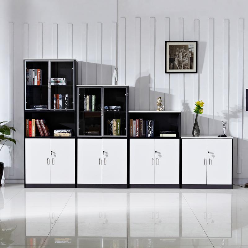多孚辦公 帶鎖文件櫃木質檔案櫃板式矮櫃家用書櫃茶水資料櫃子