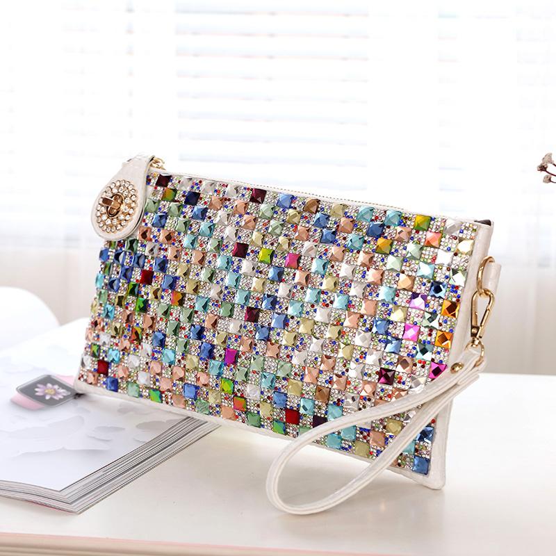Rhinestone handbag womens small bag Korean fashion diamond inlaid dinner envelope bag with Diamond Single Shoulder Messenger womens bag