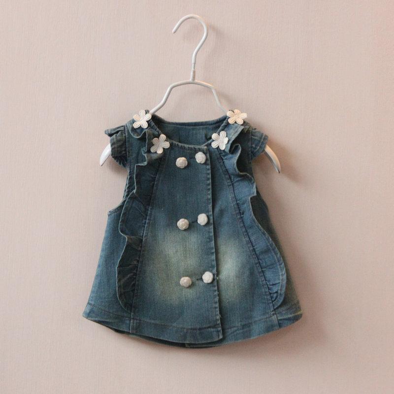 2015 года новый осень дети девочек стерео кнопку цветок вырез вязаный жилет джинсовый жилет цветок ребенка