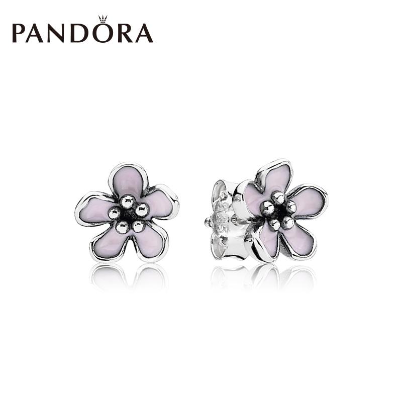 PANDORA пандора официальный прямо продавать розовая сакура цветок 925 серебро эмаль мисс серьги 290537EN40