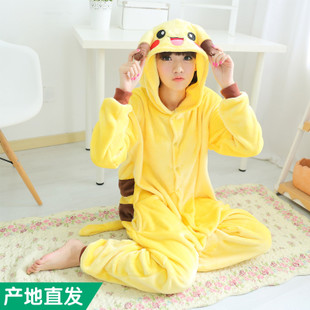 Pikachu genuine piece flannel cartoon animal lovers in autumn and winter long sleeved pajamas tracksuit toilet