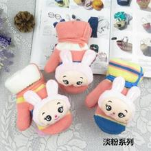 Winter warm male and female children mittens Cute cartoon rabbit baby gloves wholesale Thicken with the rope