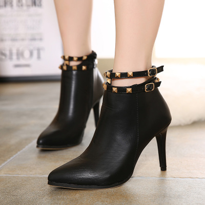 2016 pointed high heel stiletto women pu boots's main photo