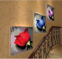 Real product packages mailed 5 d diamond drill water crossing embroidery stickers with diamond embroidered roses round diamond drill the living room