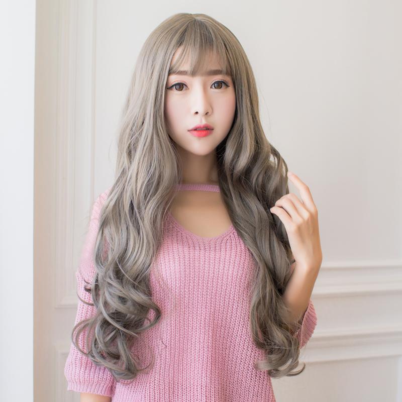 韓國假發頭套女長卷發空氣劉海薄長發中分蓬鬆逼真自然大頭皮假發