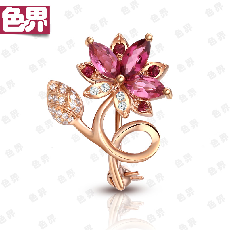 Color world natural tourmaline 18K Rose Gold Brooch inlaid with diamond red gem one-to-one national inspection certificate