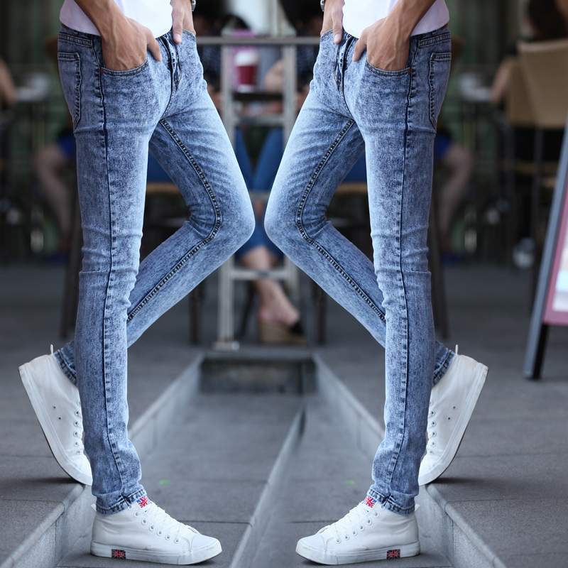Black small leg jeans mens white trousers Summer Youth snow pants mens fall 2020 light color Korean version trend