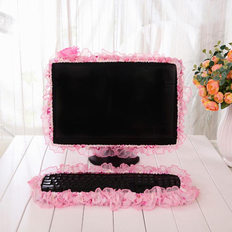 田园风蕾丝布艺电脑电视防尘罩 液晶台式显示器键盘装饰圈保护套