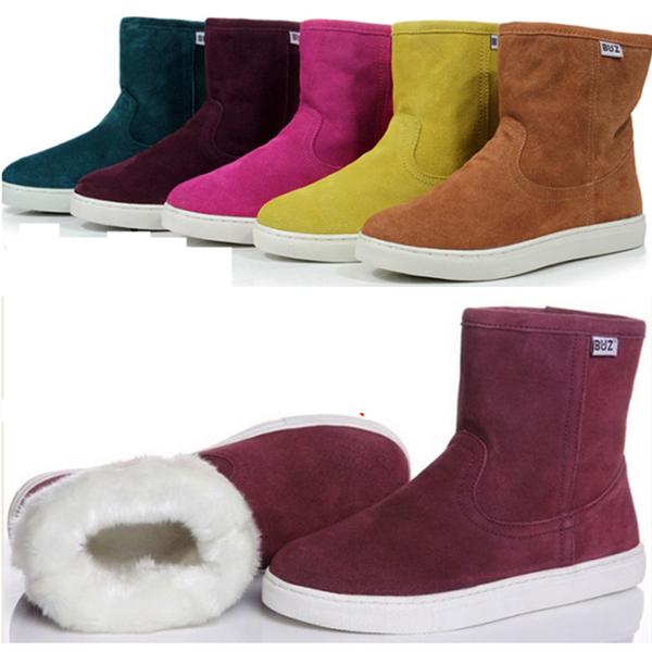 BUZ в трубе кожа снега сапоги зимние ботинки с теплой non выскальзования искусственный плюш плоским дном пара ботинок сумка mail