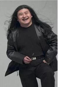 黑色中分假发模仿刘欢假发节日假发舞台歌手表演假发男女反串假发
