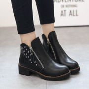2015 winter season the new Europe and the woman tipped rivet Rivet round head short boots women's boots chunky heels low heel women shoes wave