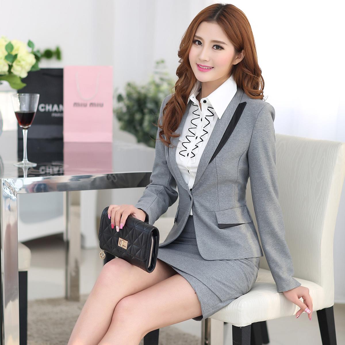 Чжи Юн Ян осенью 2015 новых элитных профессиональных женщин серое платье установлены OL белый воротник единообразных 13806