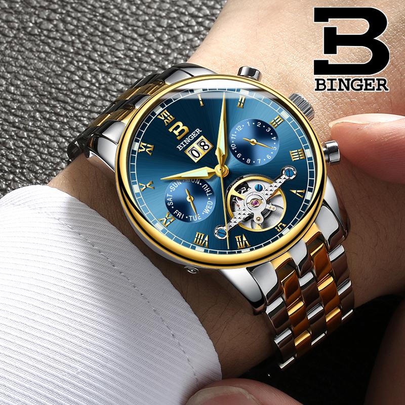 正品BINGER賓格手表機械表男表鏤空全自動精鋼防水夜光超薄高檔