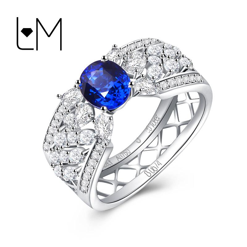 灵妙珠宝18K金镶嵌天然钻石斯里兰卡蓝宝石戒指女 个性款支持定做