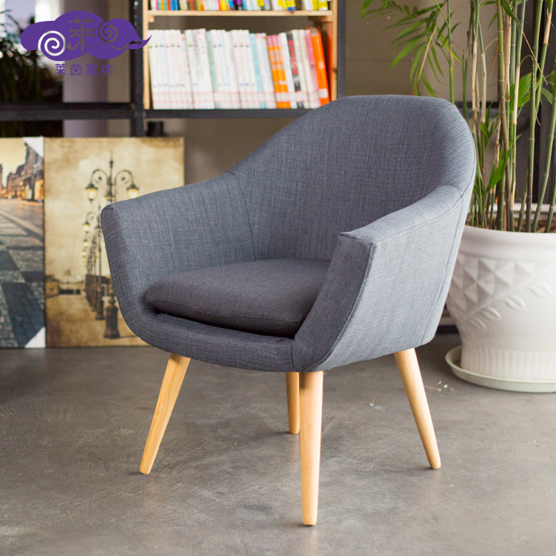 簡約 布藝沙發椅 師 書房客廳單人日式餐廳可拆洗椅子