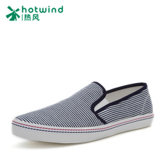 Hot air men's spring and autumn new men's striped round head shoe tide casual flat shoes men 61W5184