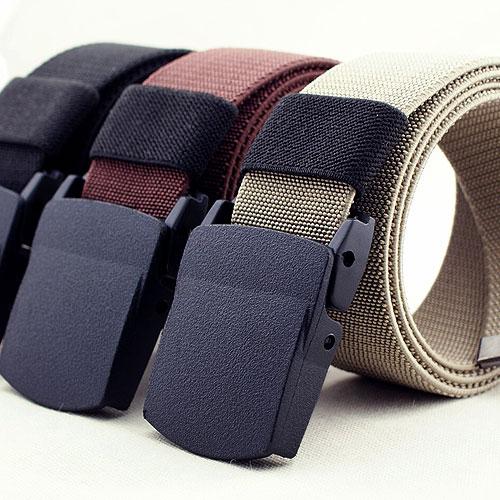 Mens smooth buckle elastic belt thickened elastic plastic buckle elastic lengthened multicolor canvas belt student belt
