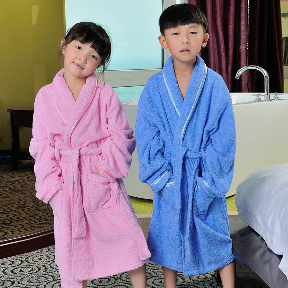 Childrens Cotton Bathrobe with cap thickened boys and girls swimming towel bathrobe long sleeve babys Cotton Bathrobe autumn and winter