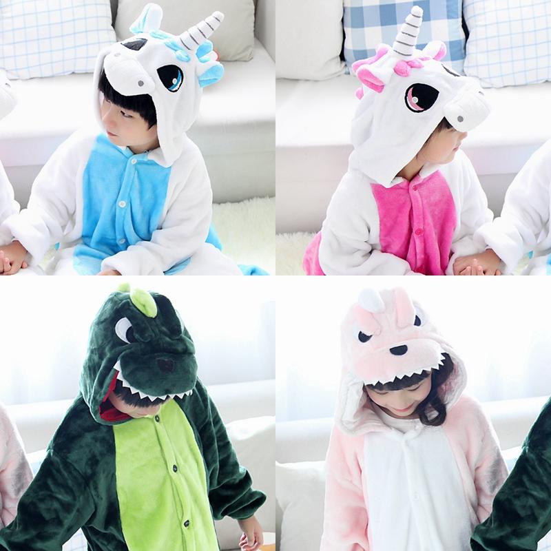Детская динозавр Единорог норки Туалет версия для осень/зима фланелевой мультфильм кусок животное пижамы для мужчин и женщин одежда