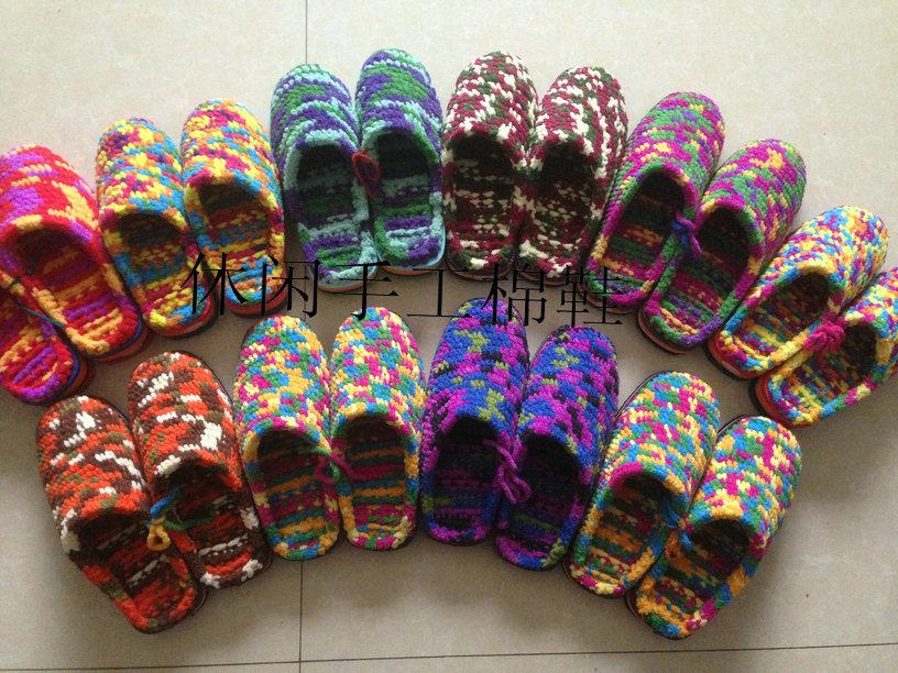 包邮特价双起10居家拖鞋新款冰条线粗线勾拖鞋纯手工毛线拖鞋