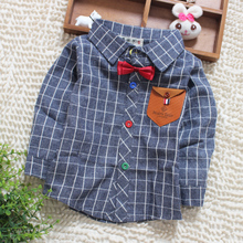 Baby boys long sleeve shirt, children's clothing han edition of new fund of 2015 autumn outfit children children in the spring and autumn period and the plaid shirt