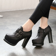 New European fashion high heels fall pointed low chunky heels shoes double flashes belt buckle shoes with high heels shoes