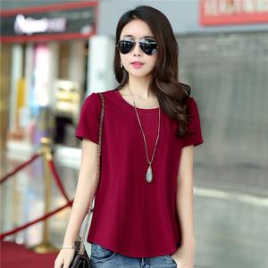 新款简约大码圆领宽松t恤短袖夏装纯棉体恤 纯色女士半袖上衣韩版