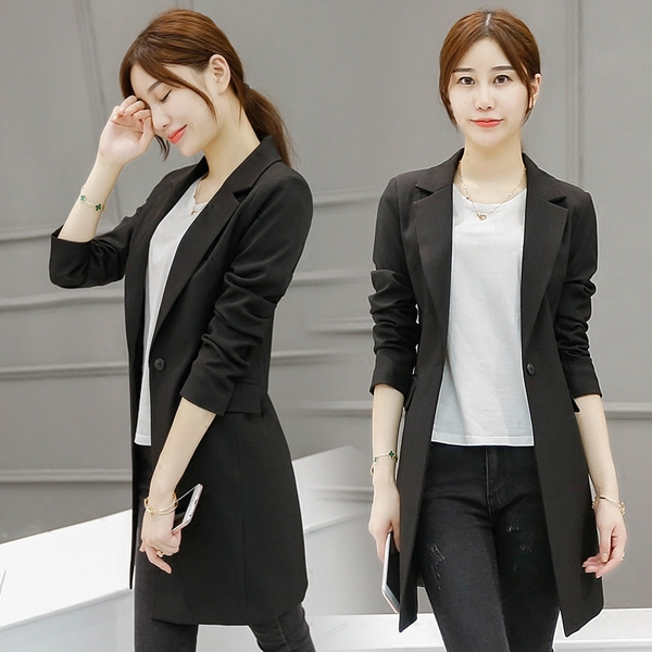 2bc73650e25b The spring and autumn new suit girls long slim suit jacket female ...