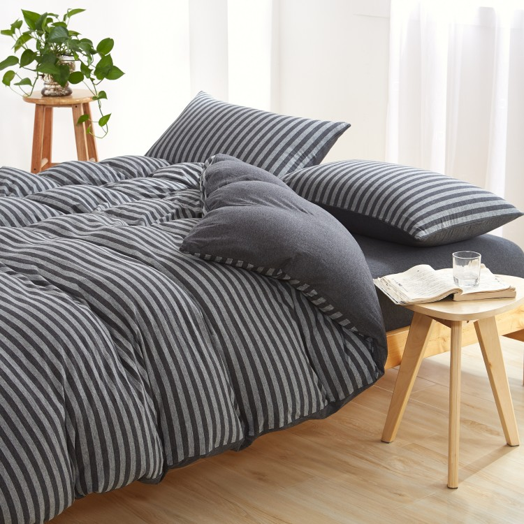 MUJI 4-piece naked sleeping all cotton Tianzhu Knitting Cotton Striped Japanese bed sheet quilt cover fitted sheet bedding