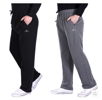 Lu Jinglong spring and autumn Plush summer thin mens sports casual pants middle aged high waist pure cotton pants